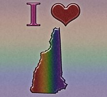 I Heart New Hampshire Rainbow Map - LGBT Equality by LiveLoudGraphic