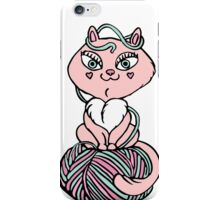 Pink kitten sit on yarn iPhone Case/Skin