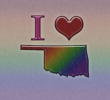 I Heart Oklahoma Rainbow Map - LGBT Equality by LiveLoudGraphic
