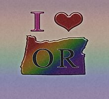 I Heart Oregon Rainbow Map - LGBT Equality by LiveLoudGraphic