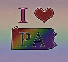 I Heart Pennsylvania Rainbow Map - LGBT Equality by LiveLoudGraphic