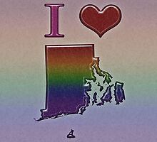 I Heart Rhode Island Rainbow Map - LGBT Equality by LiveLoudGraphic