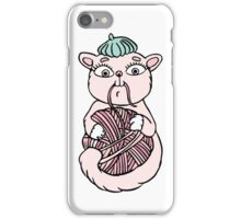 Cat in beret playing with ball iPhone Case/Skin