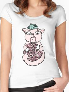 Cat in beret playing with ball Women's Fitted Scoop T-Shirt