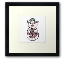 Cat in beret playing with ball Framed Print