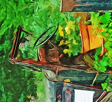 Antique Car Planter Abstract Impressionism by pjwuebker