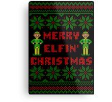 Merry Elfin Christmas Funny Ugly Sweater Shirt Metal Print