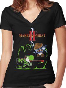 MARIO KOMBAT II Women's Fitted V-Neck T-Shirt