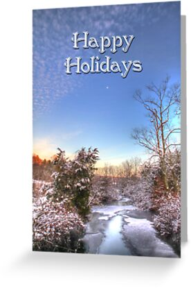 Happy Holidays Greeting - Moon Sky and Creek by MotherNature