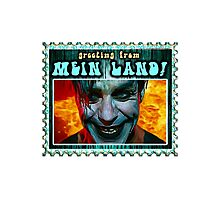 GREETINGS FROM MEIN LAND agua stamp Photographic Print