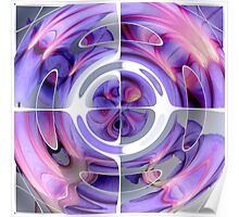 Abstract Morning Glory Fish Eye Collage Poster