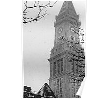 Custom House Tower in Snow Poster