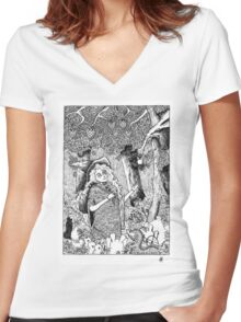The Oblivion Meets The Giving Tree Women's Fitted V-Neck T-Shirt