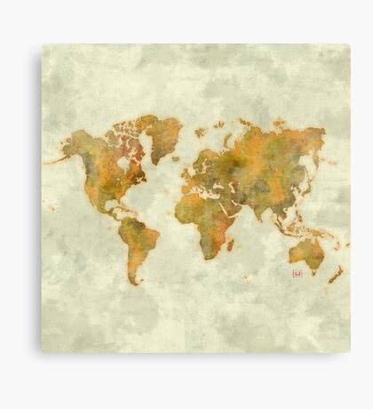 World Map Yellow Vintage Canvas Print