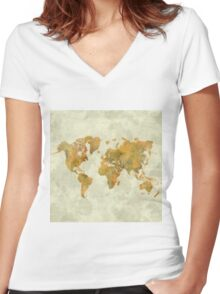 World Map Yellow Vintage Women's Fitted V-Neck T-Shirt