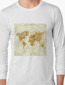 World Map Yellow Vintage Long Sleeve T-Shirt