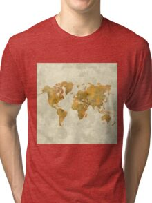 World Map Yellow Vintage Tri-blend T-Shirt