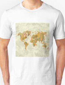 World Map Yellow Vintage Unisex T-Shirt