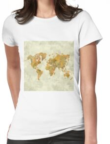 World Map Yellow Vintage Womens Fitted T-Shirt