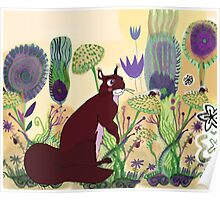 squirrel and plants Poster