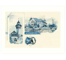 Vintage 1890s litho Nürnberg Nuernberg Nuremberg Art Print