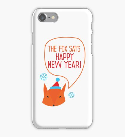 The fox says Happy New Year! iPhone Case/Skin