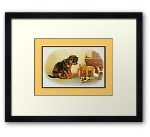 Cute Victorian puppy, wooden toys Framed Print