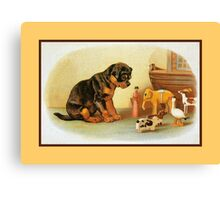 Cute Victorian puppy, wooden toys Canvas Print