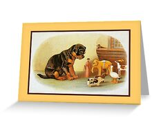 Cute Victorian puppy, wooden toys Greeting Card