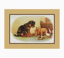 Cute Victorian puppy, wooden toys Kids Tee