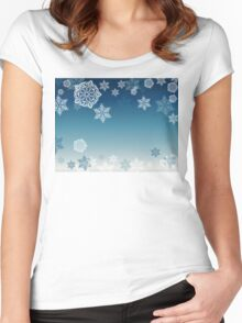 Blue Background with Snowflakes 7 Women's Fitted Scoop T-Shirt