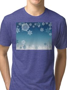 Blue Background with Snowflakes 7 Tri-blend T-Shirt