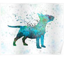Miniature Bull Terrier in watercolor Poster