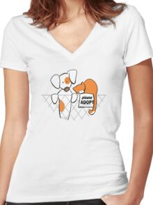 Please Adopt Shelter Pets | Patch & Rusty™ Women's Fitted V-Neck T-Shirt