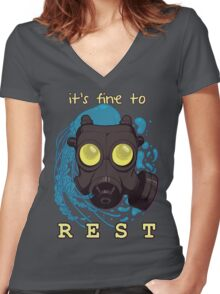 It's fine to rest. Women's Fitted V-Neck T-Shirt