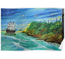 Waves (classical oil painting for posters and prints) Poster