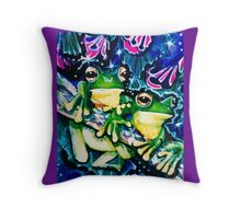 two frogs Throw Pillow