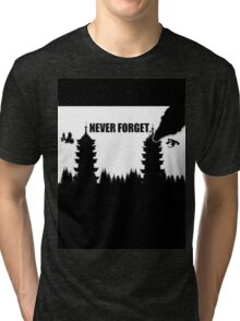 Never Forget-Burned Tower Tri-blend T-Shirt