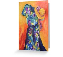 Floral dress with hat Greeting Card