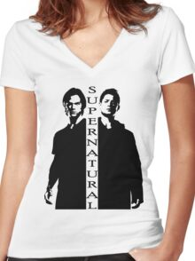 Supernatural Winchester Brothers Women's Fitted V-Neck T-Shirt