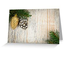 Christmas background with ornaments on branch Greeting Card