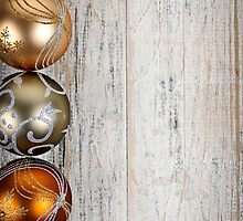 Golden Christmas ornaments border by Elena Elisseeva
