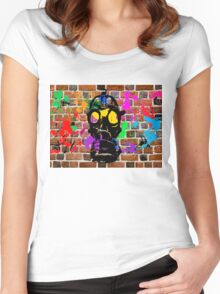 Gasmask on Wall Women's Fitted Scoop T-Shirt