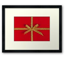 Red gift with gold ribbon Framed Print