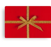 Red gift with gold ribbon Canvas Print