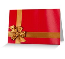 Red gift background with gold ribbon Greeting Card