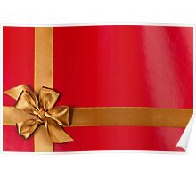 Red gift background with gold ribbon Poster
