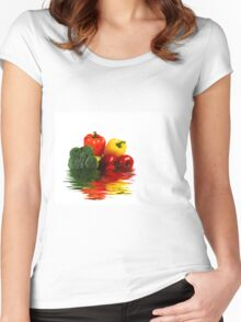 Medley of vegetables over white with water reflection Women's Fitted Scoop T-Shirt