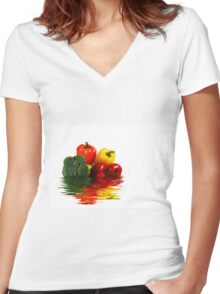 Medley of vegetables over white with water reflection Women's Fitted V-Neck T-Shirt