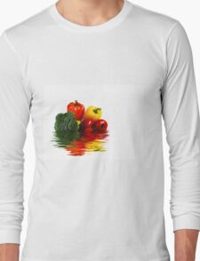 Medley of vegetables over white with water reflection Long Sleeve T-Shirt